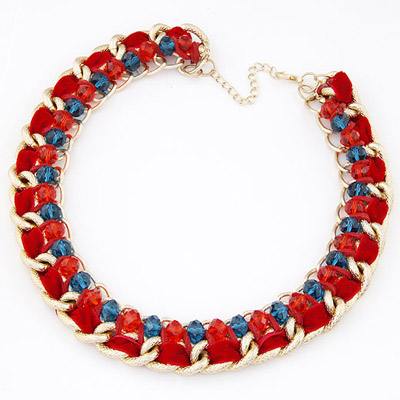 Real Red Beads Weave Simple Design Alloy Bib Necklaces