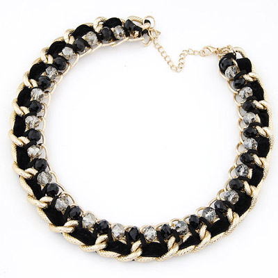 Chic Black Beads Weave Simple Design Alloy Bib Necklaces