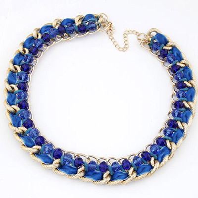 Bulk Blue Beads Weave Simple Design Alloy Bib Necklaces