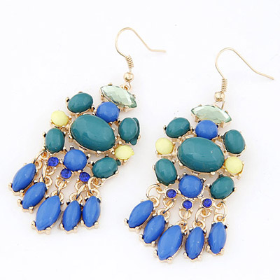 Plated Blue Gemstone Decorated Waterdrop Tessal Design Alloy Korean Earrings