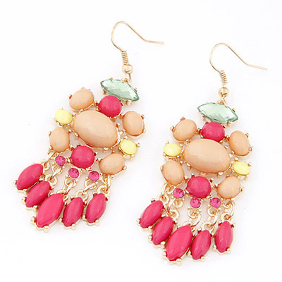 Antique Plum Red Gemstone Decorated Waterdrop Tessal Design Alloy Korean Earrings