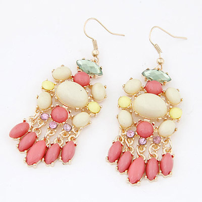 Upper Light Plum Red Gemstone Decorated Waterdrop Tessal Design Alloy Korean Earrings