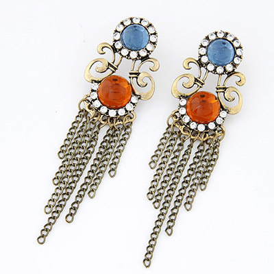 Lined Orange Diamond Decorated Tessal Design Alloy Stud Earrings