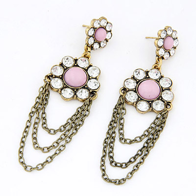 Famale Pink Diamond Decorated Flower Design Alloy Stud Earrings
