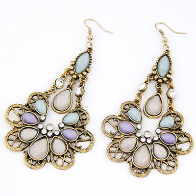 Infant Light Purple Flower Decorated Hollow Out Design Alloy Stud Earrings