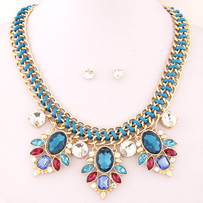 Mustard navy blue gemstone decorated simple design for Mustard colored costume jewelry