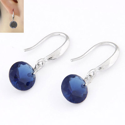 Maturnity Blue Diamond Decorated Simple Design Cuprum Korean Earrings