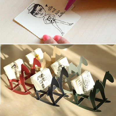 Infant Color Will Be Random Swing Wooden Horse Shape Design Paper Scratch Pad Sticky