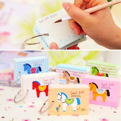 Fashion Color Will Be Random Wooden Horse Pattern Loose-Leaf Design Paper Scratch Pad Sticky