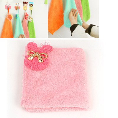 Tory Pink Cartoon Rabbit Bowknot Decorated Coral Fleece Household goods