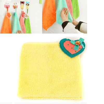 Top Rated Yellow Heart Bowknot Decorated Coral Fleece Household goods