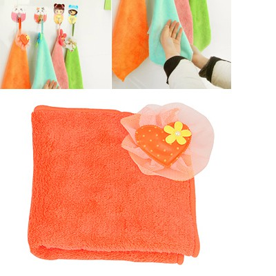Attractive Orange Heart Sun Flower Decorated Coral Fleece Household goods