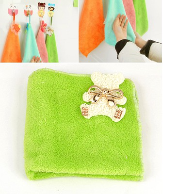Stainless Green Cartoon Bear With Metal Bowknot Decorated Coral Fleece Household goods