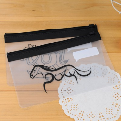 Glam Color Will Be Random Horse Pattern Waterproof Transparent Design PVC Pencil Case Paper Bags