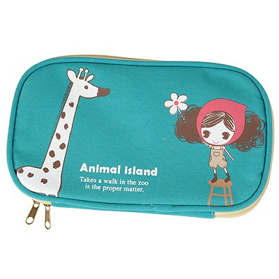 Pewter Blue Giraffe Pattern Double Zipper Design Canvas Pencil Case Paper Bags