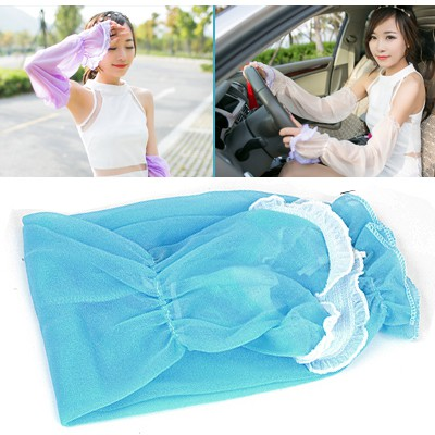 Male Blue Simple Long Section Of Sunscreen Uv Protective Sleeve Chiffon Household goods