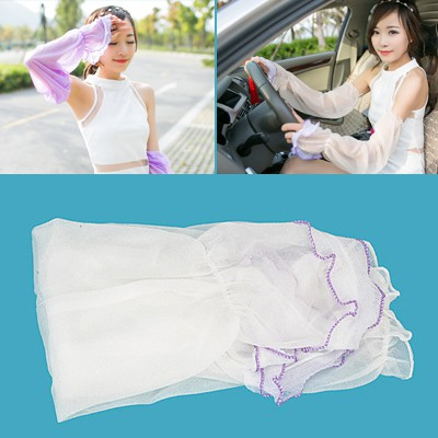 Wrap White Simple Long Section Of Sunscreen Uv Protective Sleeve Chiffon Household goods
