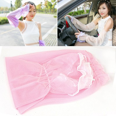 Golf Pink Simple Long Section Of Sunscreen Uv Protective Sleeve Chiffon Household goods
