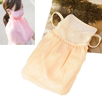 Retro Beige Neck Sunscreen Dust Proof Anti-Uv Large Design Chiffon Face Mask