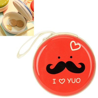 Girls red bearded pattern mini round shape design