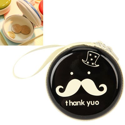 Promo black bearded pattern mini round shape design