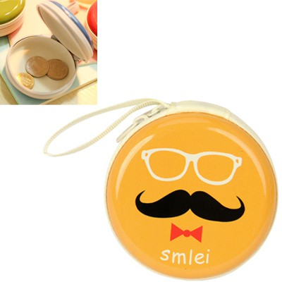 Luxury yellow bearded pattern mini round shape design linen Wallet