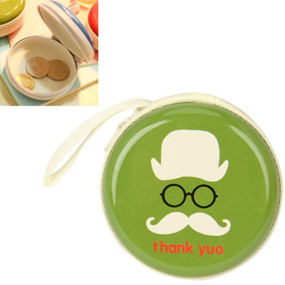 Double green bearded pattern mini round shape design linen Wallet
