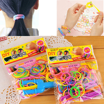 Define color will be random rubber bands woven DIY design plastics Hair band hair hoop