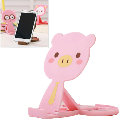 Lined pink lovely pig shape folding design ABS Phone holder