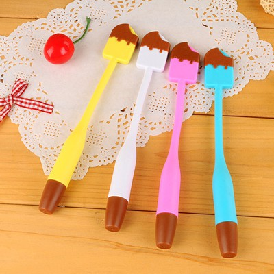 Masculine brown ice cream shape bend design plastic Writing Pens