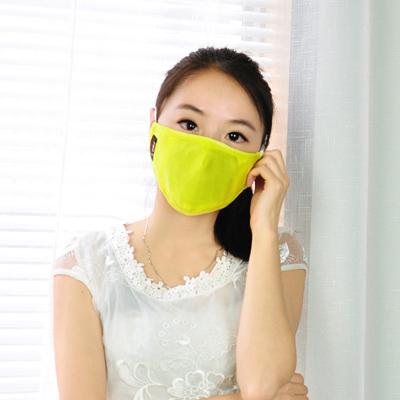 Fashionabl yellow pure color simple design cotton Face Mask