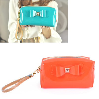 Double orange bowknot decorated pure color design leather Beauty tools