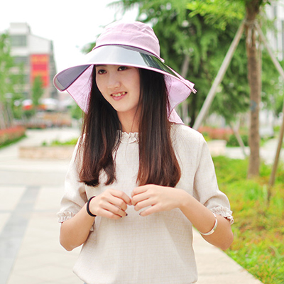 Fit light purple big lenses decorated design PVC Sun Hats