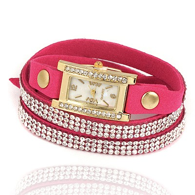 Wrap Plum Red Full Of Diamond Belt Square Shape Design Pu Leather Ladies Watches