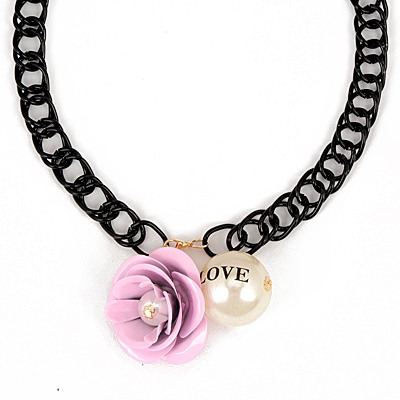 Baltic Pink Flower Gemstone Pearl Pendant Design Alloy Chains