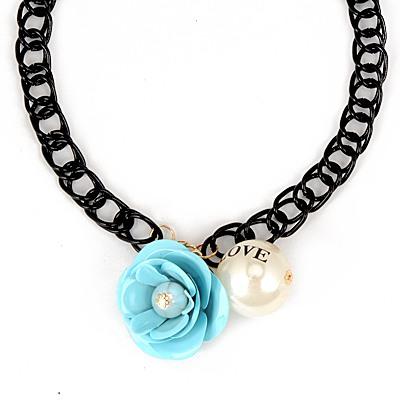 Goth Blue Flower Gemstone Pearl Pendant Design Alloy Chains