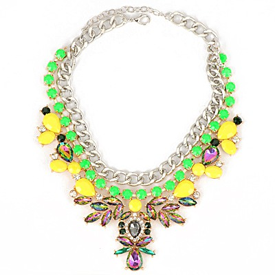 Magnetic Green Abstract Bee Gemstone Decorated Chain Design Alloy Bib Necklaces