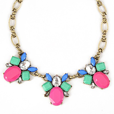 Cute Plum Red Gemstone Bee Decorated Design Alloy Bib Necklaces