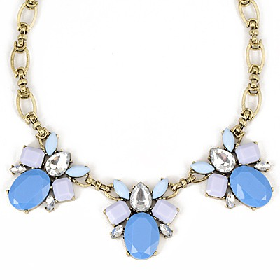 African Blue Gemstone Bee Decorated Design Alloy Bib Necklaces