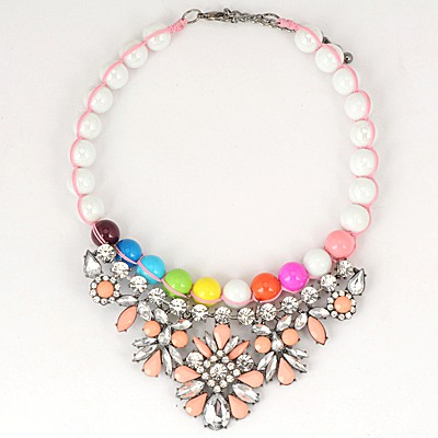 Native Pink Gemstone Flower Decorated Pearl Chain Design Alloy Bib Necklaces
