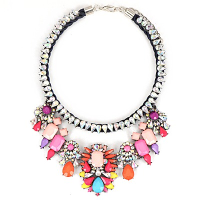Quality Pink Gemstone Decorated Water Drop Diamond Chain Design Alloy Bib Necklaces