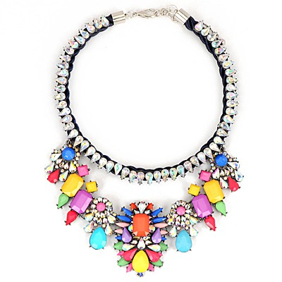 Streamline Multicolor Gemstone Decorated Water Drop Diamond Chain Design Alloy Bib Necklaces