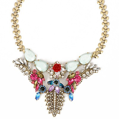 Disposable Multicolor Leaf Flower Gemstone Decorated Design Alloy Bib Necklaces