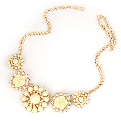 Girls Beige Sweet Gemstone Flower Pendant Design Alloy Bib Necklaces
