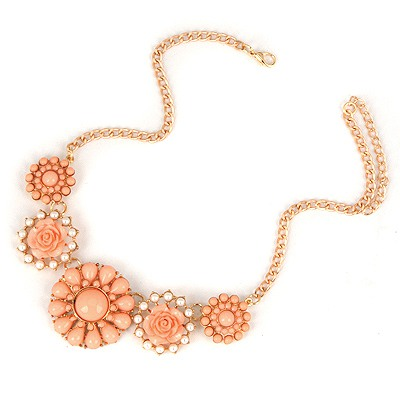 Sheer Chrysanthemum Color Sweet Gemstone Flower Pendant Design Alloy Bib Necklaces
