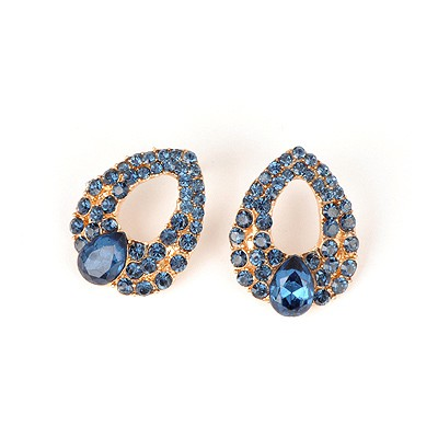 Diaper Blue Hollow Water Drop Shape Design Alloy Stud Earrings