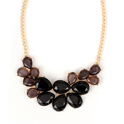 Tapered Black Double Layer Water Drop Gemstone Pendant Alloy Bib Necklaces