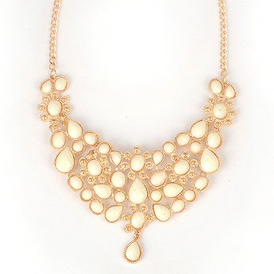 22K White Hollow Out Flower Patchwork Pendant Alloy Bib Necklaces