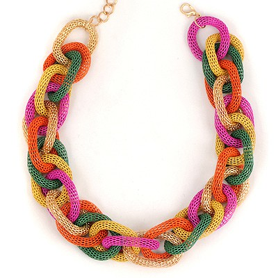 Tall Multicolor Metal Circle Chain Link Design Alloy Chains