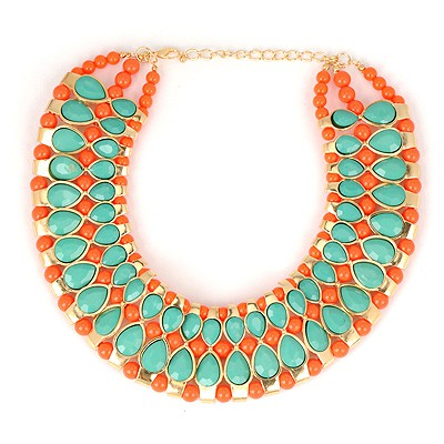 Cocktail Green Water Drop Gemstone Annular Patchwork Design Alloy Bib Necklaces